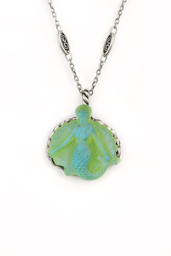 Sea Foam Green German Etched Glass Mermaid Pendant Necklace