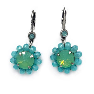Green opal and turquoise opal bead drop earring Er-2