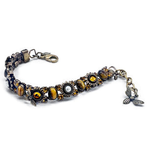 Sunflower and bee bracelet