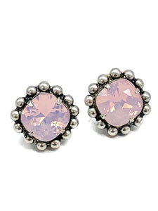Rose  water opal post earrings
