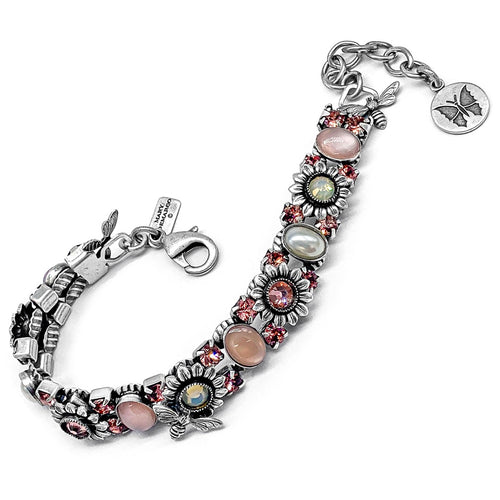 Sunflower and bee bracelet in pinks