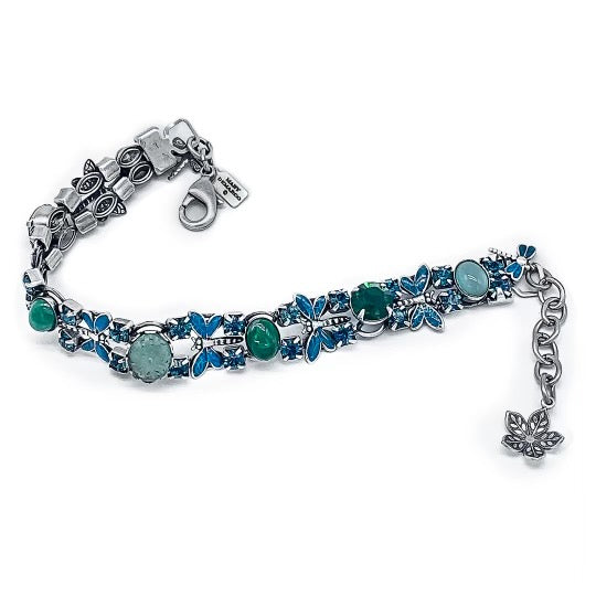 Dragonfly bracelet in blues and greens
