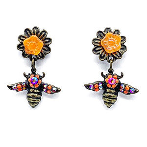 Bee and flower post drop earrings