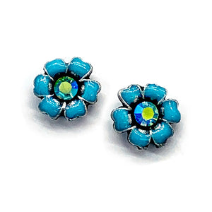 Flower enameled post earrings