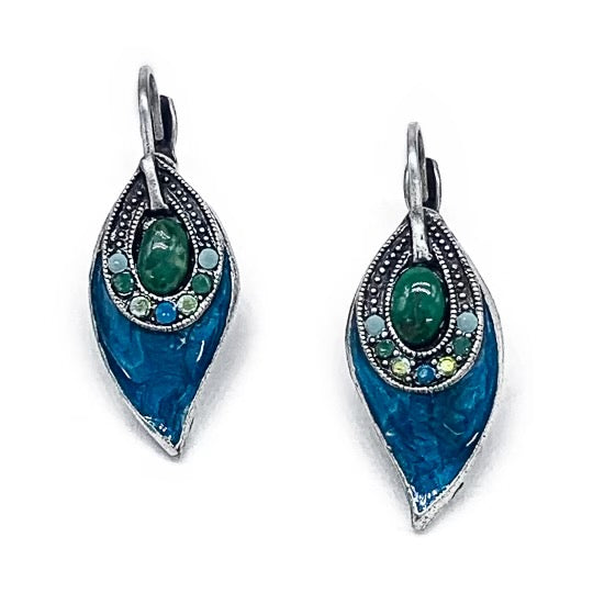 Peacock feather right and left earrings