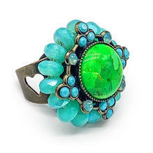 Load image into Gallery viewer, Statement ring in Mohave green turquoise