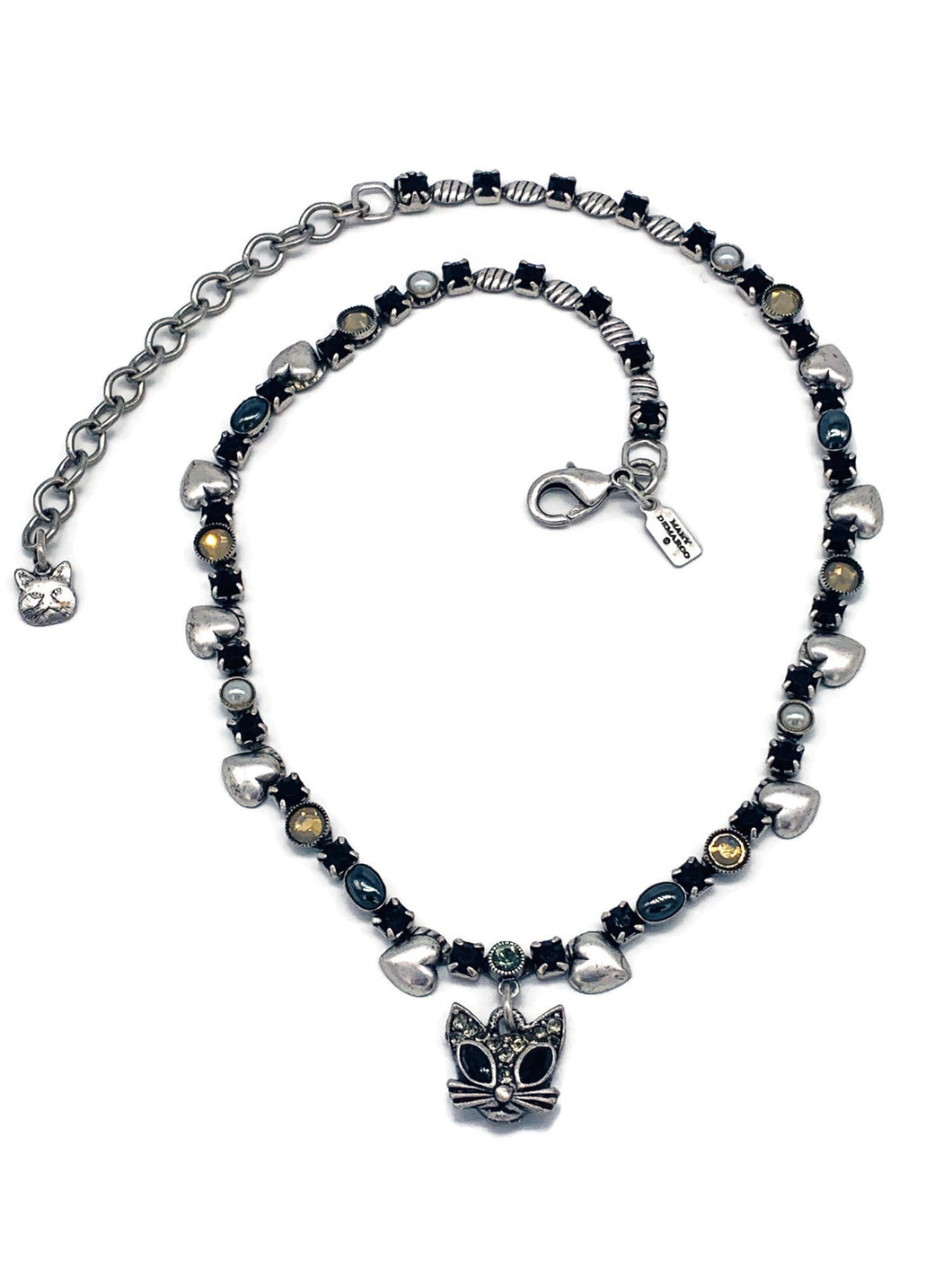 Cat , crystal and hearts necklace
