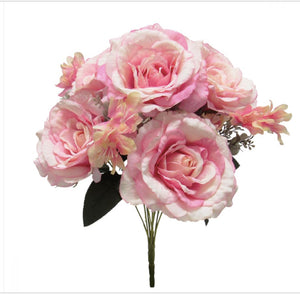 Open Hybrid Rose w/ Eucalyptus Bloom -Pink Bouquet