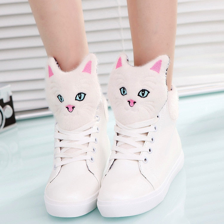 Cat Lace-up Vulcanized Shoes