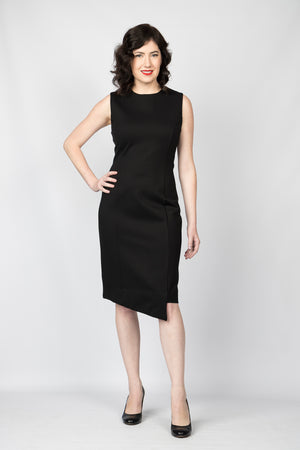 Bossy Boots Sheath Pencil Dress with Asymmetric Hem