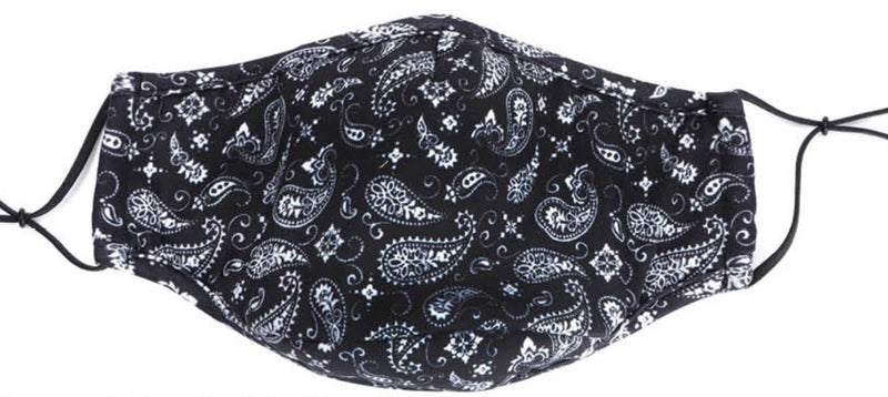 Snoozies Adult Mask/Face Covering Black Bandana Size Adult