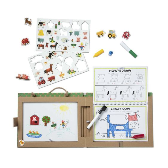 Melissa and Doug Natural Play: Play, Draw, Create Reusable Drawing & Magnet Kit - Farm - Childish Things Consignment Boutique