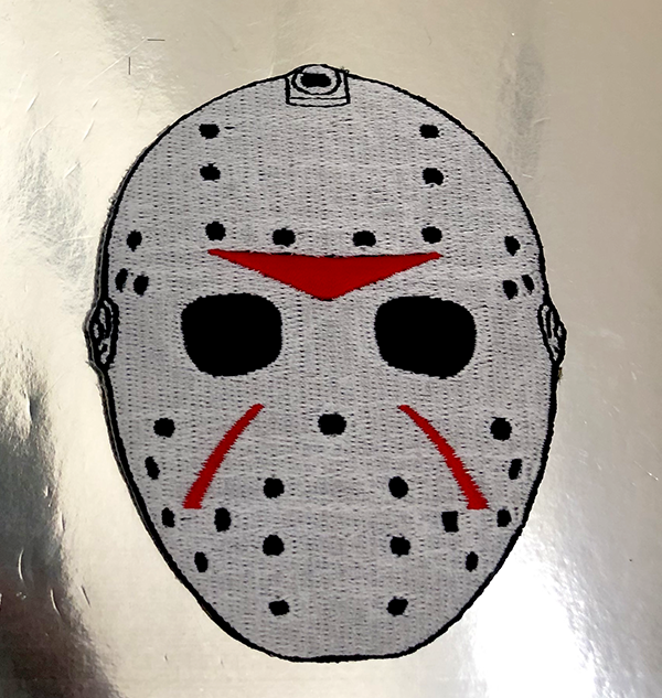 Hockey Mask Patch. Sewn/Embroidered with iron-on backing.
