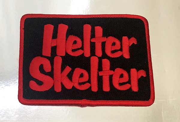 Helter Skelter Patch. Sewn/Embroidered with iron on backing