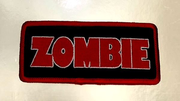 Zombie Patch. Sewn/Embroidered. With Iron-On Backing.