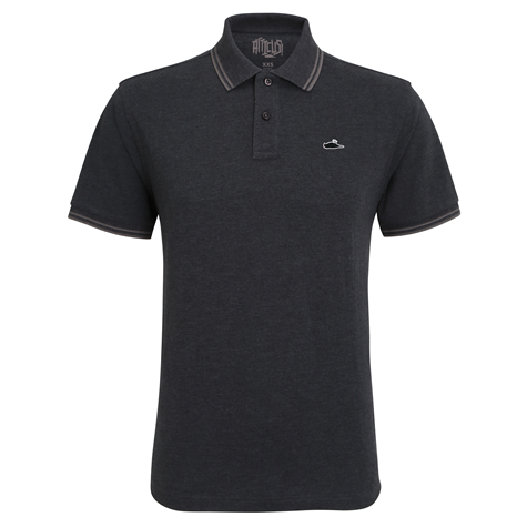 ATTICUS Classic Tipped Polo Shirt (Black Heather/Charcoal)