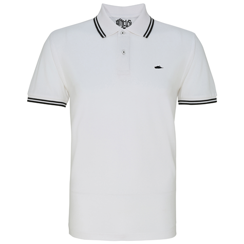 ATTICUS Classic Tipped Polo Shirt (White/Black)