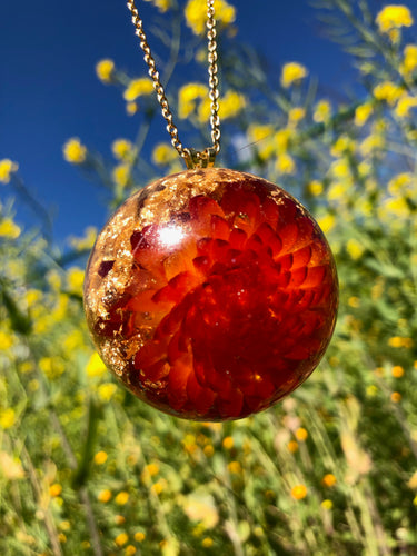 Big Red Strawflower Pendant Necklace