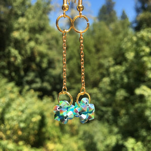 Crystal Cluster Drop Earrings-Turquoise