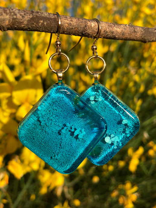 Nebula Earrings- Turquoise Square
