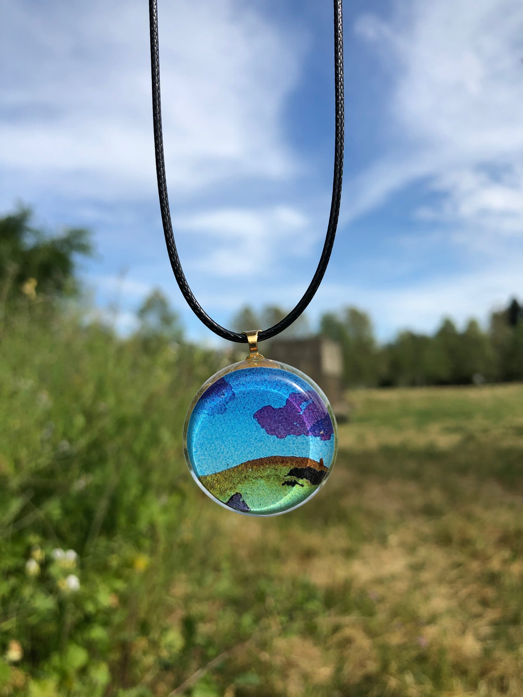 Lavender Clouds Pendant Necklace-Emma Ambrose Art Collab