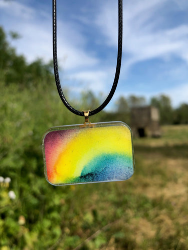 Rainbow Pendant Necklace-Emma Ambrose Art Collab