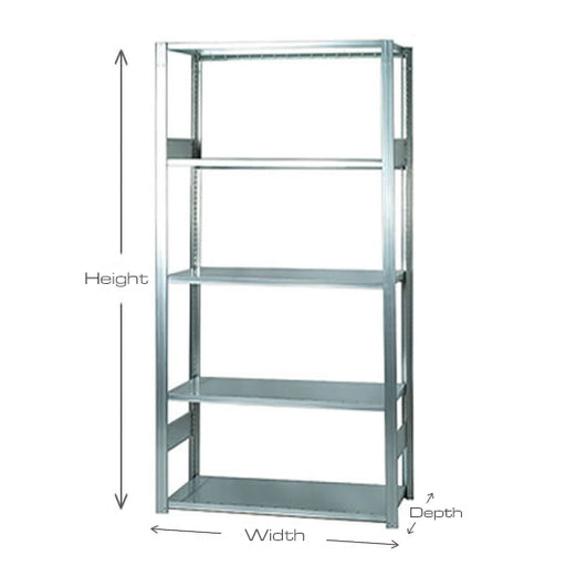 Short Span Industrial Shelving Bays - 900mm wide - 5 Levels - Open