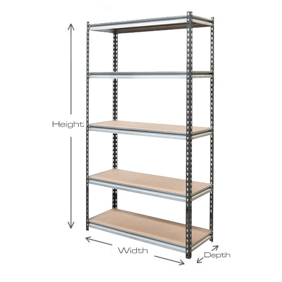 Workplace Shelving Bays - 1800mm high x 1000mm wide - 5 Levels