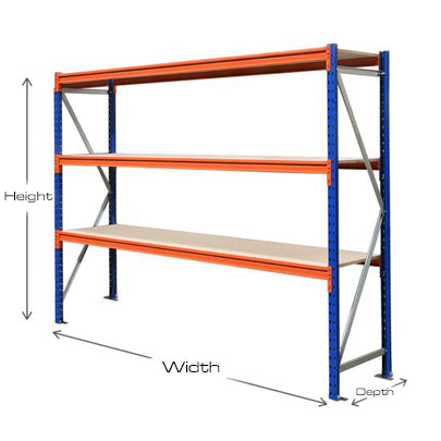 Longspan Shelving Bays - 1850mm wide - 3 Levels