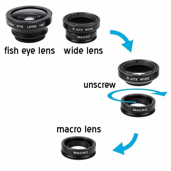 Wide Angle Macro Lenses 3 in 1
