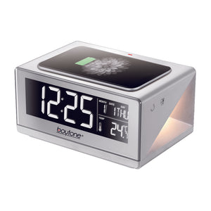 Boytone BT-12W Fast Wireless Charging Digital Alarm Clock with Temperature & Calendar Display, Bed Light