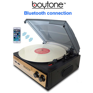 Boytone BT-13G with Bluetooth Connection 3-Speed Stereo Turntable Belt Drive