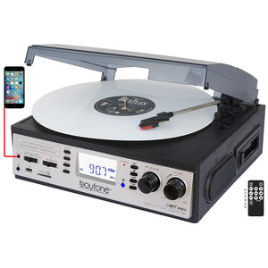 Boytone BT-19DJS-C 3-speed Turntable, 2 Built in Speakers Large Digital Display AM-F
