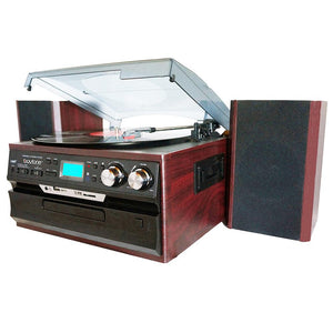 Boytone BT-21DJM-CDSP 3-Speed Turntable with CD-MP3- AM-FM Radio-Cassette-USB and Vi