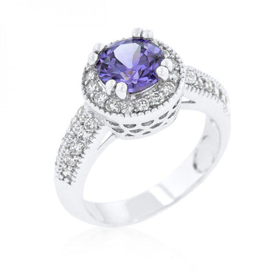 Dark Purple Halo Engagement Ring (size: 06) R08226R-C20-06