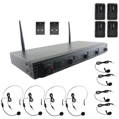 Pyle Wireless Microphone System, Uhf Quad Channel Fixed Frequency (4 Headset & 4 Lavalier Microphones) PYRPDWM4560