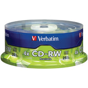 Verbatim 700mb Cd-rws With Branded Surface, 25-ct Spindle VTM95169