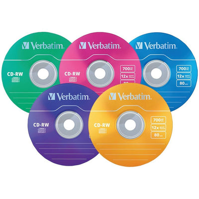 Verbatim 700mb Datalifeplus Cd-rws With Color-branded Surface, 20-ct Slim Case VTM96685