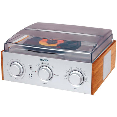 Jensen 3-speed Stereo Turntable With Am And Fm Receiver & 2 Built-in Speakers JENJTA220