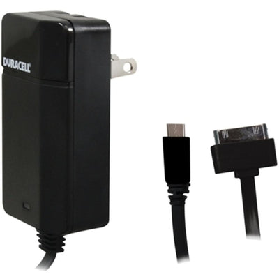 Duracell PRO154 Universal AC Charger with 6 Feet Micro USB to 30-Pin Cable - Black