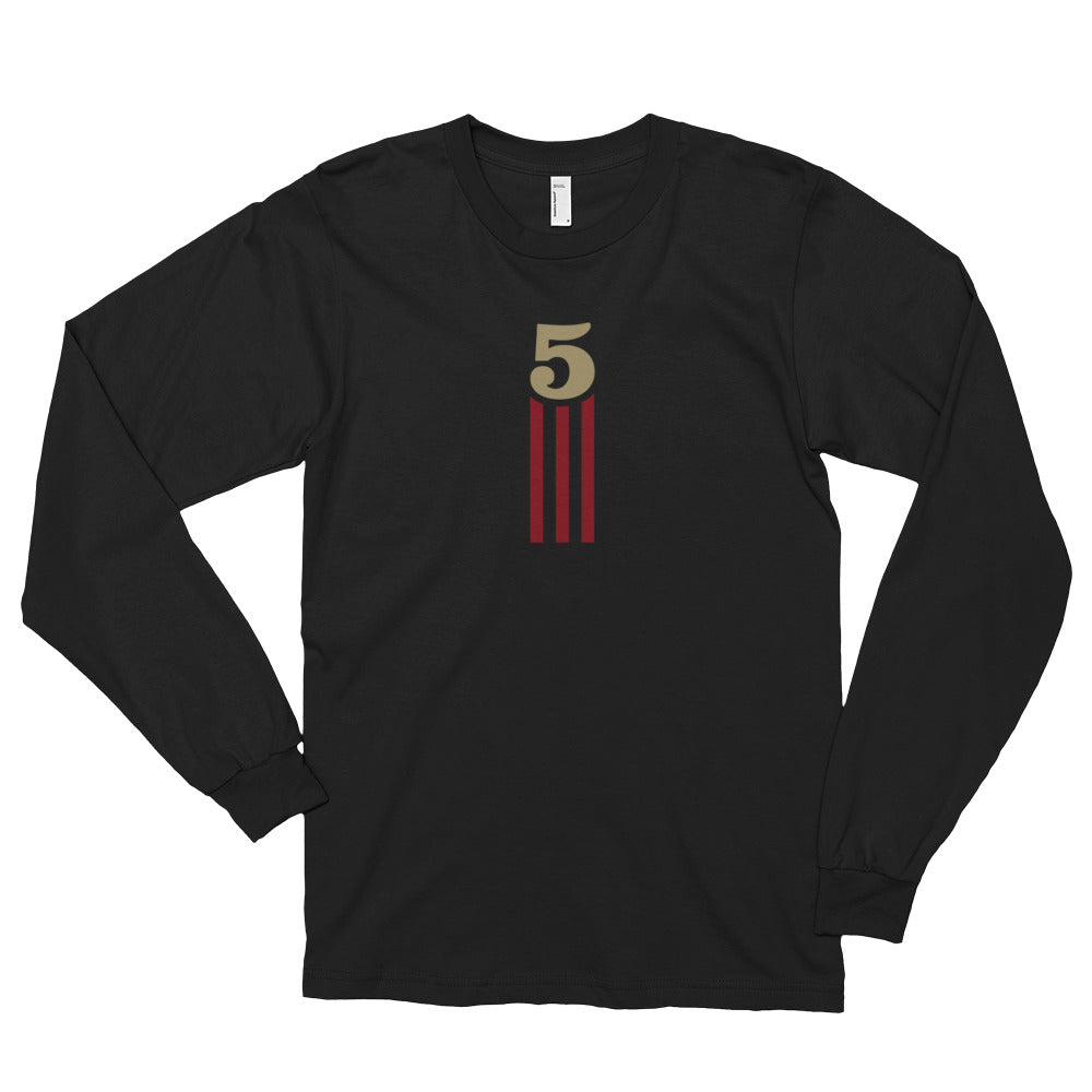 5 STRIPES - VERTICAL (Black) Long Sleeve