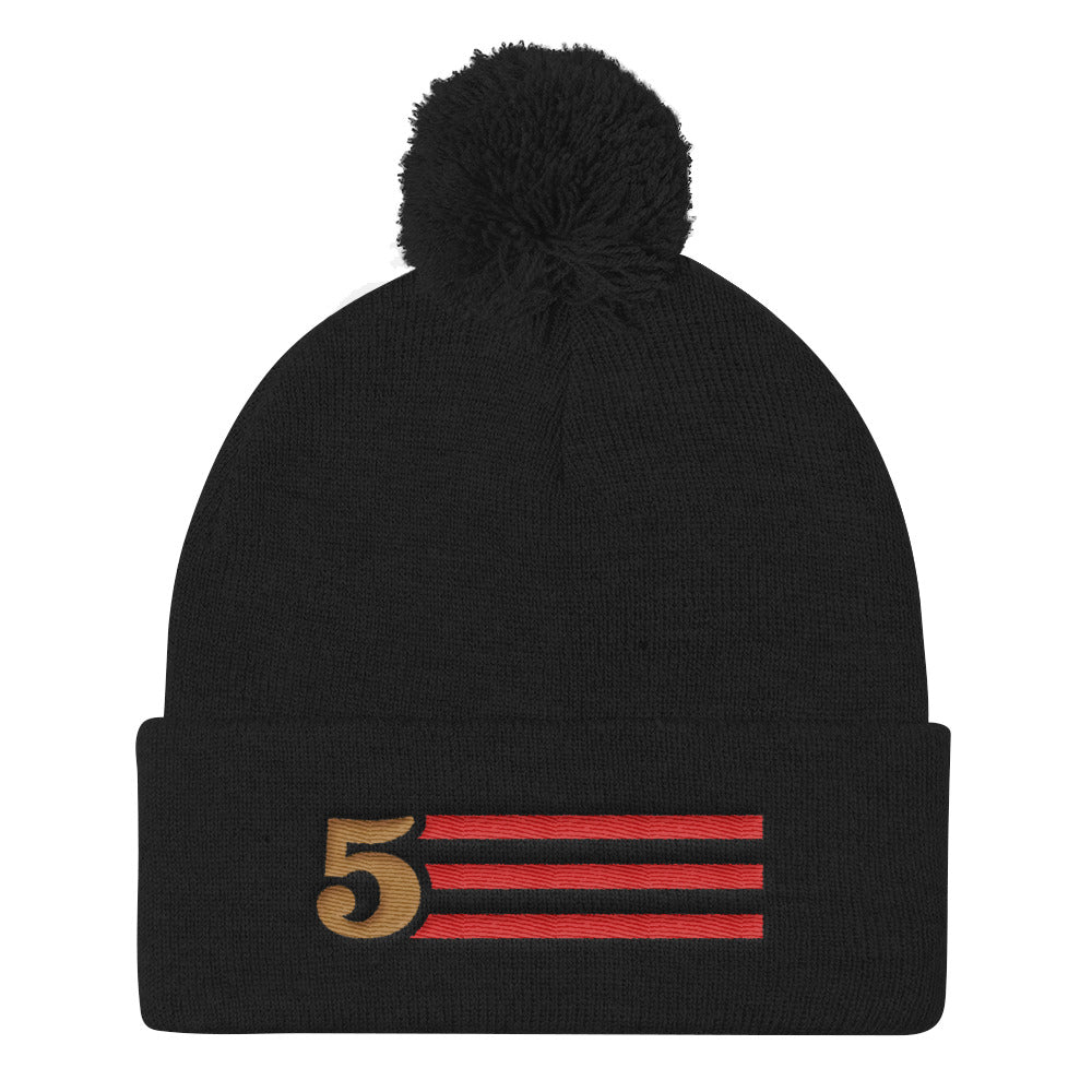 5 STRIPES - BEANIE WITH POM (Black)