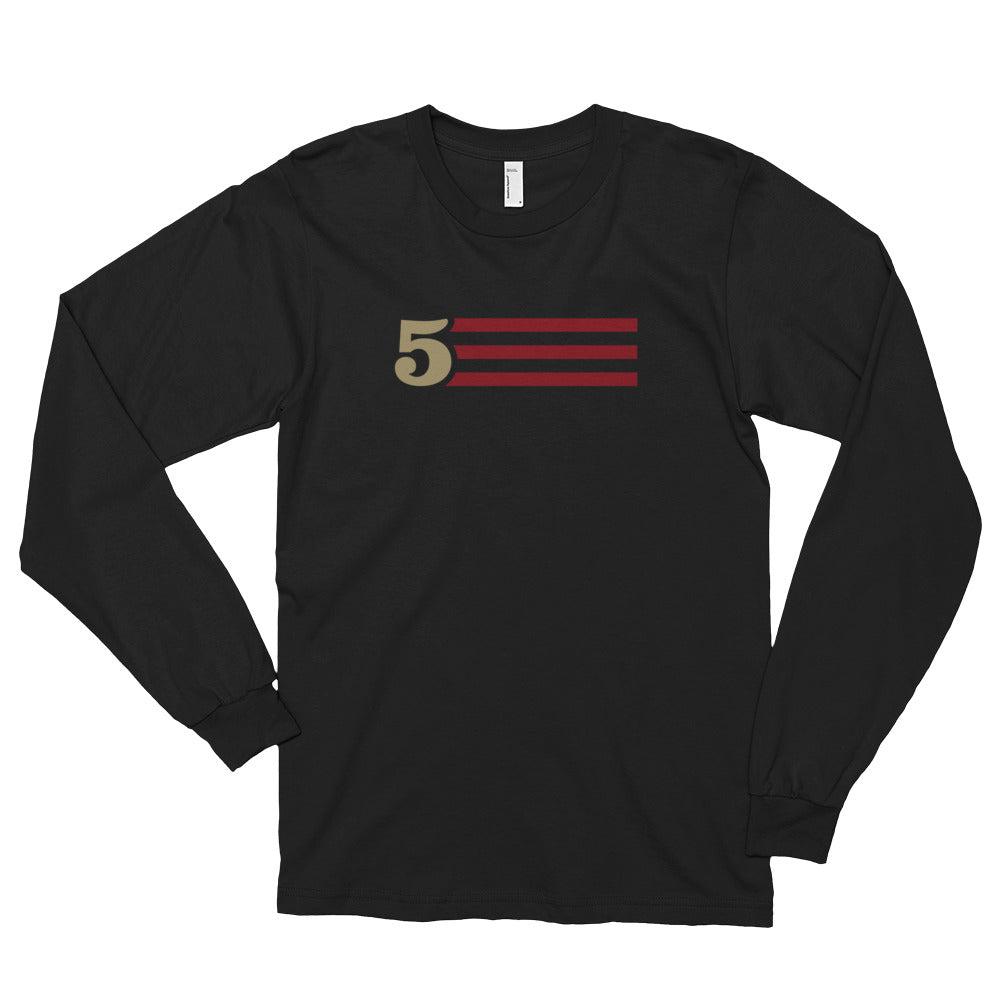 5 STRIPES - HORIZONTAL (Black) Long Sleeve