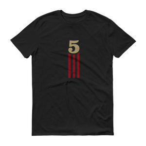 5 STRIPES - VERTICAL (Black) Unisex T-Shirt
