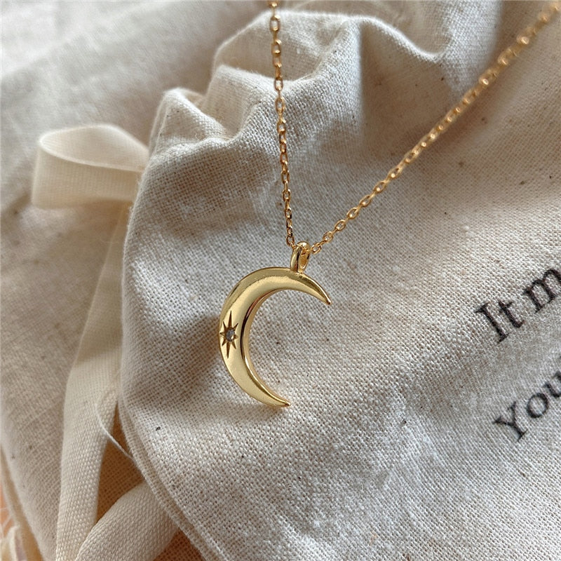 Gold Moon Pendant Necklace - 925 Sterling Silver
