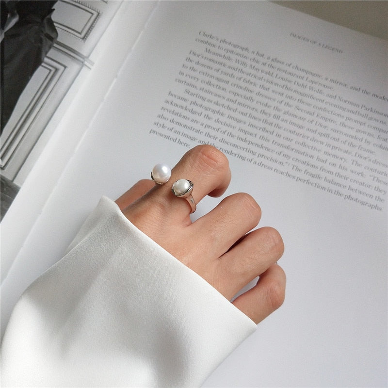 Open Pearl Ring -  925 Sterling Silver