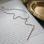 Gold Tie Necklace - 925 Sterling Silver 18K