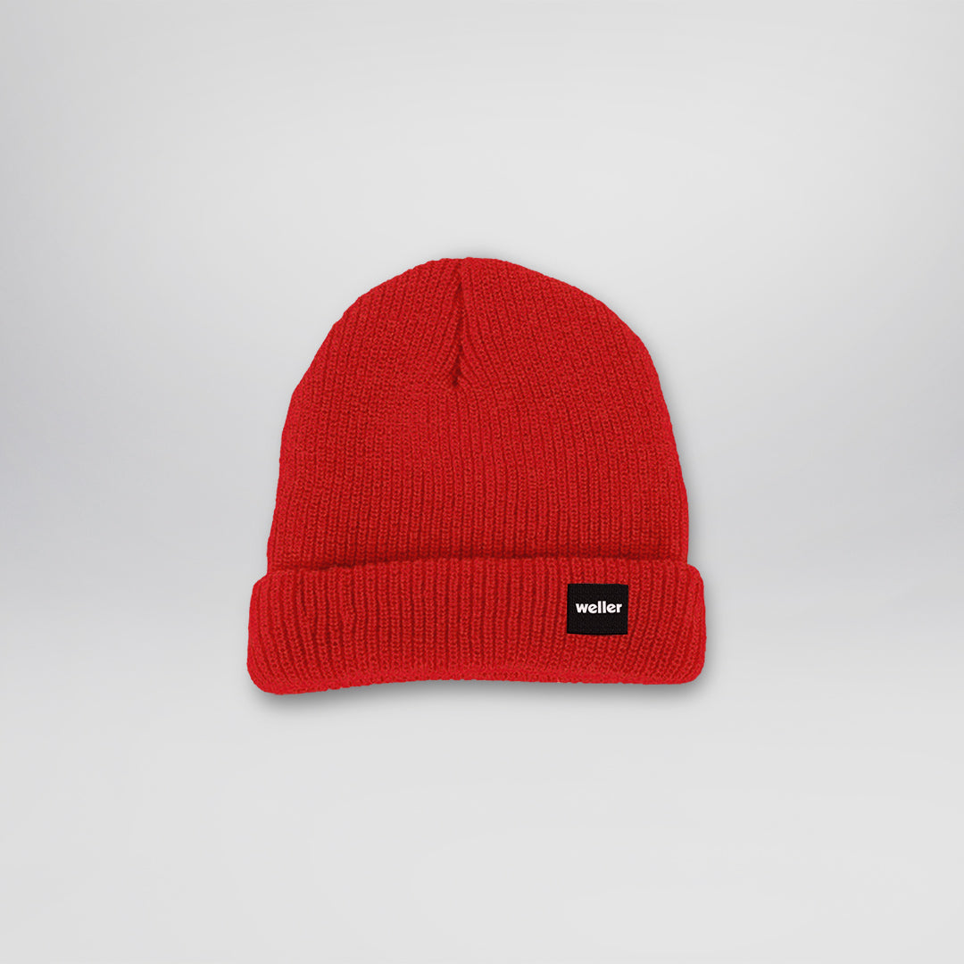 Weller Brand Fold Beanie - Red