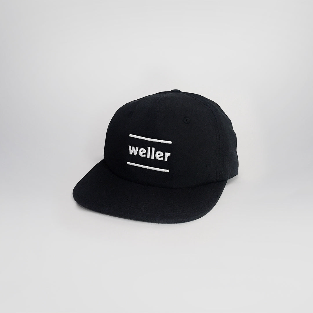 Weller Brand 6 Panel Unstructured Hat - Black