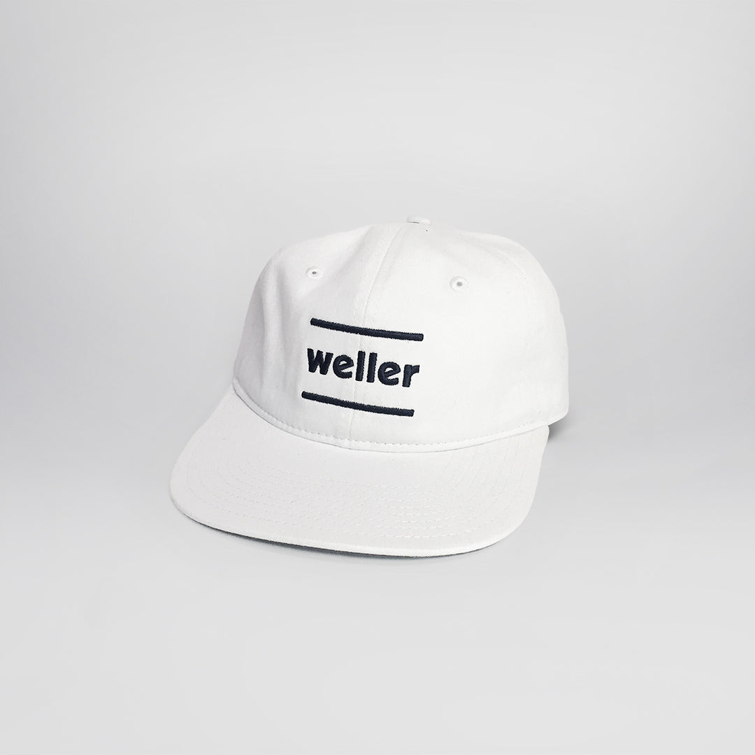Six Panel Unstructured Hat - White